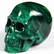 "Gemstone 2.0"" Malachite Carved Crystal Geode Skull, Realistic"