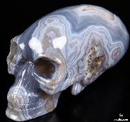 "Nice Huge 7.2"" Agate Carved Elongated Mayan Alien Crystal Skull"