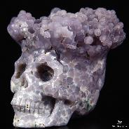 "Nice 2.5"" Purple Grape Agate Carved Crystal Skull Sculpture"