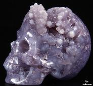"Nice 1.9"" Purple Grape Agate Carved Crystal Skull"