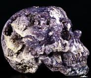"Nice Gemstone Lifesized 7.8"" Purple Grape Agate Carved Crystal Skull, Super Realistic"