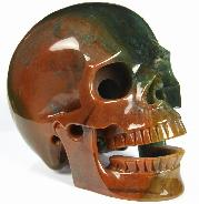 "Huge 5.2"" Indian Agate Carved Hollowed Crystal Singing Skull, Realistic, Crystal Healing"