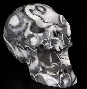 "Huge 5.2"" Rare Fossil Carved Crystal Screaming Laughing Skull, Realistic, Crystal Healing"