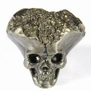 "1.1"" Pyrite Druse Carved Crystal Skull, Realistic"