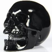 "3.0"" Black Obsidian Carved Crystal Laughing Skull"