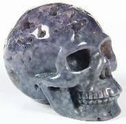 "Nice 2.0"" Purple Grape Agate Carved Crystal Skull, Realistic"