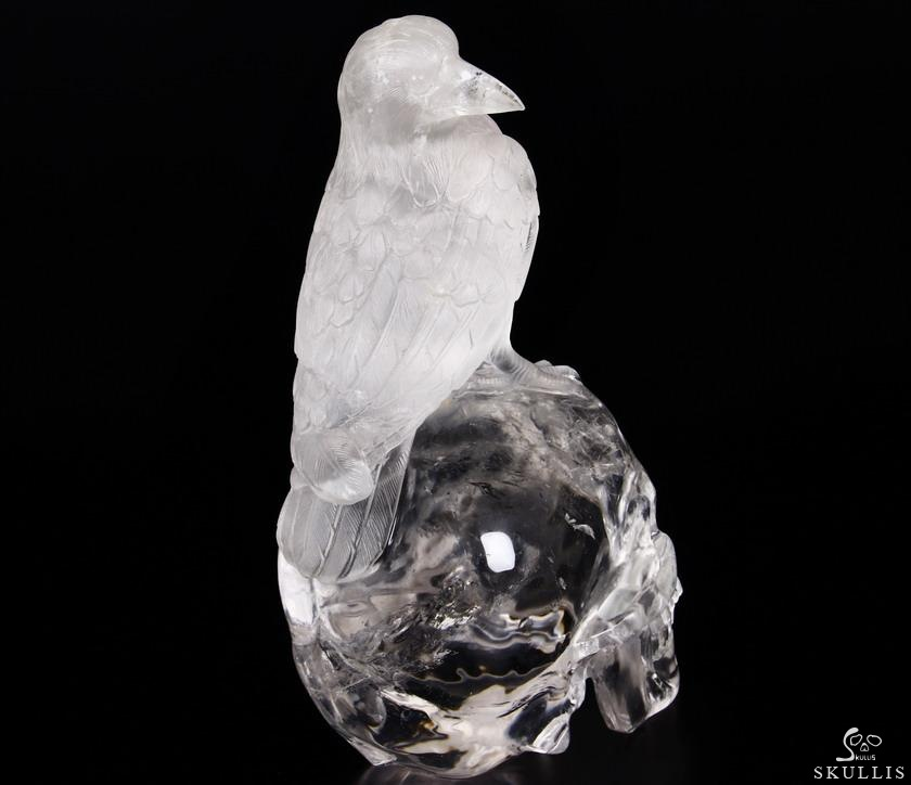 Quartz Rock Crystal Crystal Skull & Raven Sculpture
