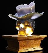 "Cowboy Top Hat 5.9"" Agate Amethyst Geode Carved Crystal Skull,Super Realistic"