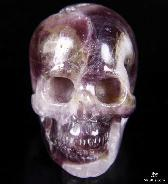 "2.0"" Amethyst Geode Carved Crystal Skull, Realistic"
