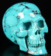 "1.7"" Turquoise Carved Crystal Skull, Realistic"