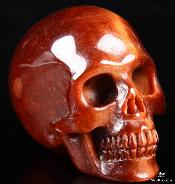 "Nice 1.9"" Red Tiger Eye Carved Crystal Skull, Realistic"