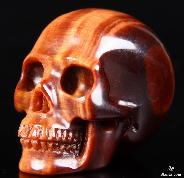 "Amazing 1.5"" Red Tiger Eye Carved Crystal Skull, Realistic"