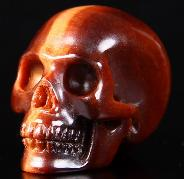 "1.2"" Red Tiger Eye Carved Crystal Skull, Realistic"