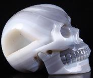 "Huge 5.1"" Gray & White Agate Carved Crystal Skull, Realistic"