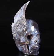 "Stunning 9.3"" Agate Carved Crystal Skull with Wing Sculpture"