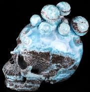 "GEMSTONE HUGE 5.6"" Larimar Carved Crystal Skull with Mushroom, Super Realistic"
