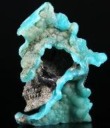 "Rare, 3.9"" Blue Aragonite Carved Crystal Skull, Super Realistic"