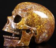 "Nice 5.2"" Gold & Red Pietersite Carved Crystal Singing Skull, Realistic"