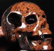 "Lifesized 6.5"" Mahogany Obsidian Carved Crystal Skull Dig Hollow Inside, Realistic"