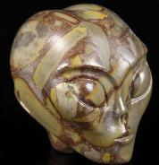"2.0"" Bamboo Stone Carved Crystal Female Alien Skull, Realistic"