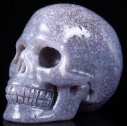 "Gemstone 2.0"" Purple Grape Agate Carved Crystal Skull, Realistic"