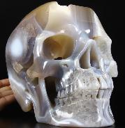 "Giant 8.5"" Agate Geode Carved Crystal Skull, Super Realistic"