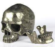 "Huge 5.3"" Pyrite Carved Crystal Skull Detachable Jaw,Super Realistic"