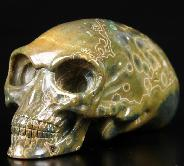 "4.0"" Ocean Jasper Carved Crystal Elongated Mayan Alien Skull, Kingdom of Crystal Skulls, Realistic, Healing"