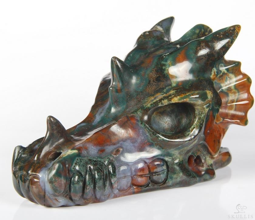 Bloodstone Crystal Dragon Skull