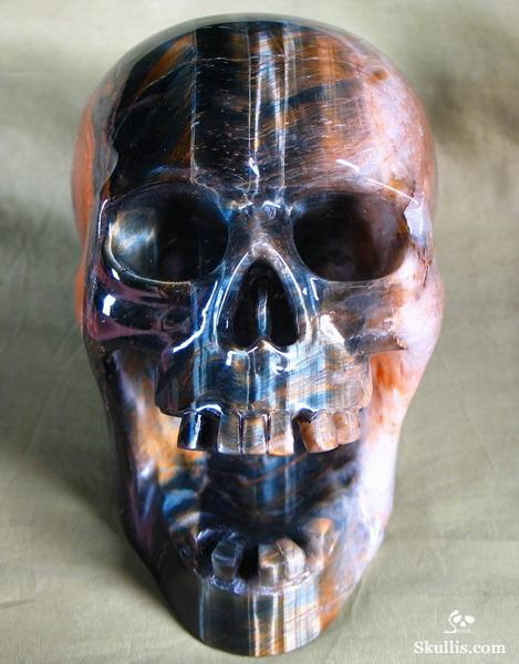 Tiger's Eye Crystal Screaming Skull