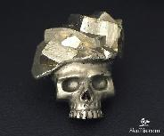 Excellent Pure Pyrite Carved Skull Pendant, Crystal, P11