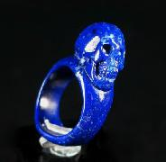Gem Lapis Lazuli Carved Skull Ring, Gemstone, Size 10, R7