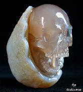 "Original 2.8"" Agate Carved Crystal Laughing Skull"