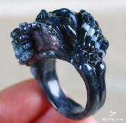 Black Zebra Agate Carved Skull Ring, Crystal , Size 11