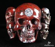 Faceted Cubic Zirconia, Chinese Bloodstone Carved 5 Skulls Buckle, Crystal