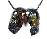 Top Quality! Pietersite Carved Crystal Skull Pendant, A Couple