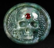 Faceted red Cubic Zirconia and Green Moss Agate Carved Skull Buckle, Crystal