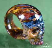 Top Quality, Pietersite Carved Skull Ring, Gemstone, Size 10