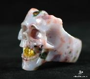 Faceted Cubic Zirconia, Ocean Jasper Carved Singing Skull Ring, Crystal Size 10