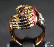 Tiger's Iron Eye/tigereye Carved Skull with Bones Ring, Crystal Size 10