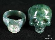 Green Moss Agate Carved Skull Lovers Rings, Crystal detachable Jaw