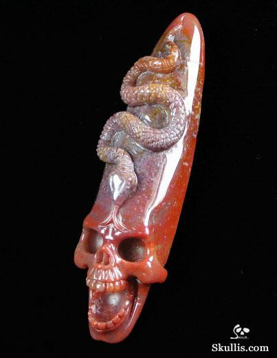Indian Agate Singing Skull with Snake Skull Pendant