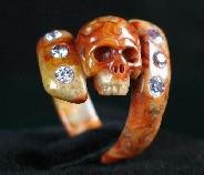 Faceted Purple Cubic Zirconia, Crazy Lace Agate Carved Skull Ring, Crystal Size 9