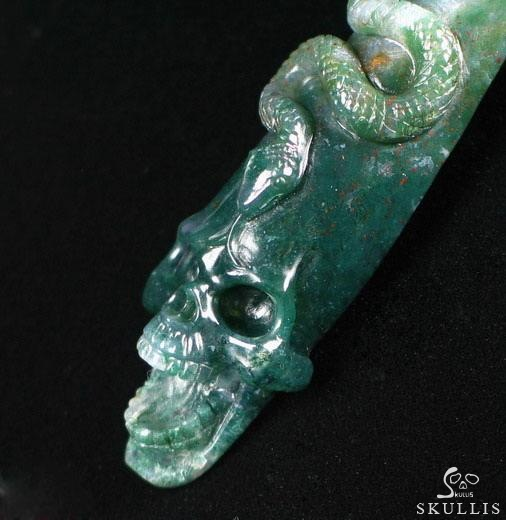 Green Moss Agate Singing Skull with Snake Pendant