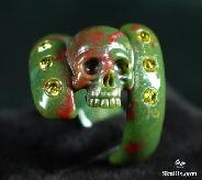 Faceted Cubic Zirconia Bloodstone Carved Skull Ring, Crystal Size 10