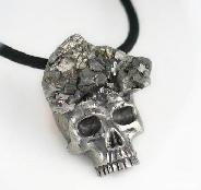 Pyrite Druese Carved Crystal Skull Pendant