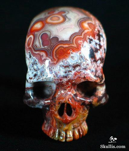 Red Lace Agate Crystal Skull Ring