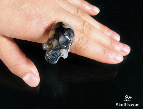 Agate Crystal Skull Ring