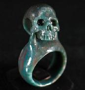 Indian Agate Carved Crystal Skull Ring, Size 9 1/2