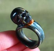 Blue Tiger Eye Carved Crystal Skull Ring, Size 9 1/2